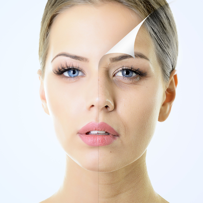 anti-aging concept, portrait of beautiful woman with problem and clean skin, aging and youth concept, beauty treatment